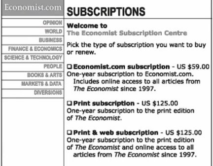 Decoy effect Economist pricing example Dan Ariely