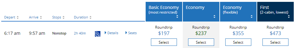 Decoy effect - United Airlines prices