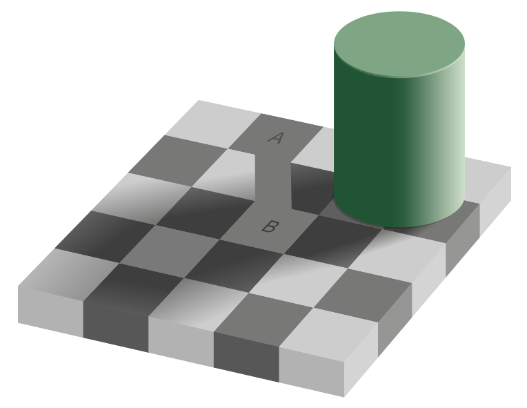 grey square optical illusion tile same